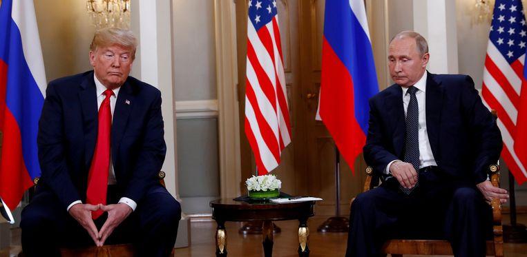 De Amerikaanse president Donald Trump en de Russische president Vladimir Poetin in Helsinki, 16 juli 2018. Beeld Reuters