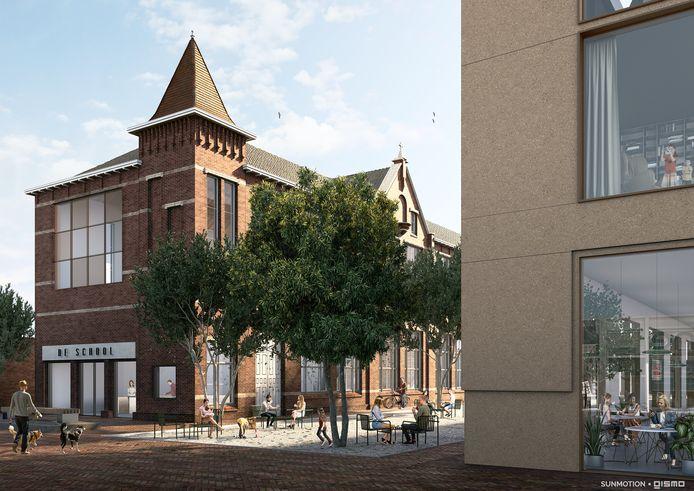 Een impressie van het project Het Schoolkwartier. De Sanders Retail Groep wil van de Sint Petrusschool weer een blikvanger maken, compleet met stadspark, horeca en appartementen.