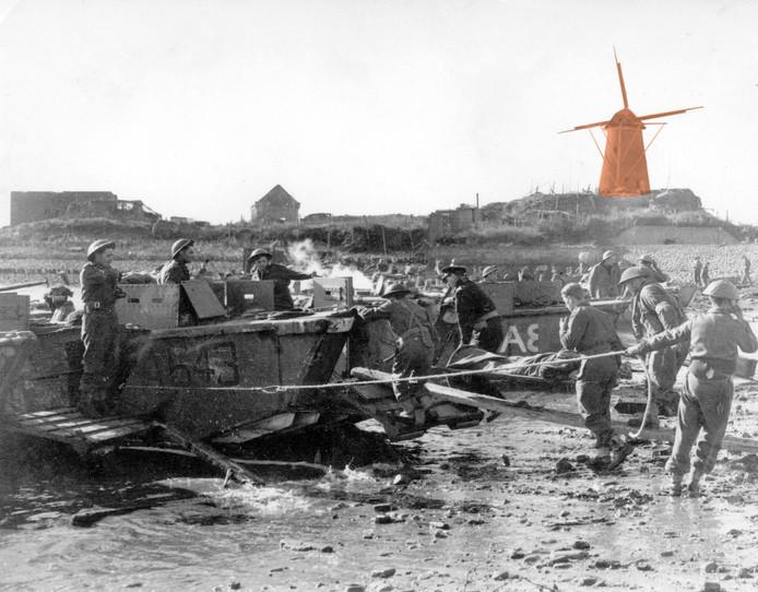 De Geallieerde troepen landen in Vlissingen bij de Oranjemolen, oktober 1944