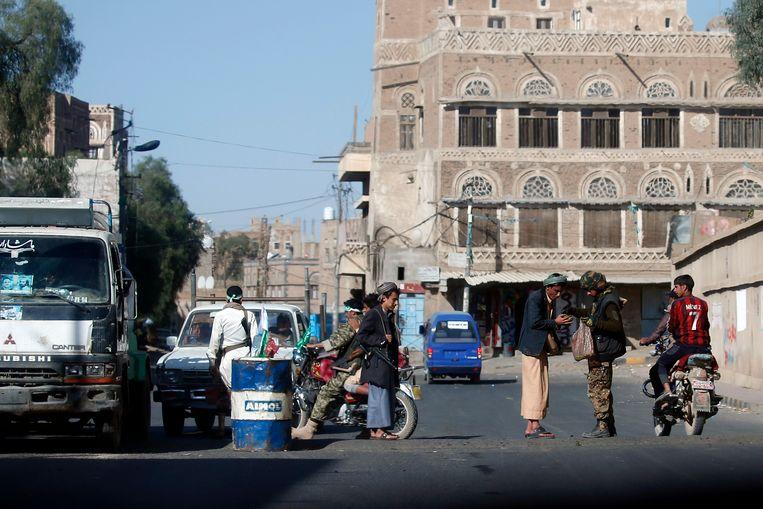 Houthi-rebellen in Sanaa. Beeld afp