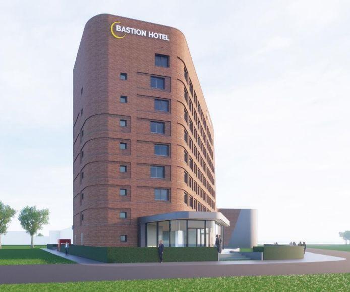 Artist's impression van het Bastionhotel dat naar verwachting begin 2022 de eerste gasten kan ontvangen.