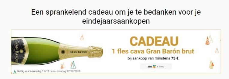 Wie met zin Xtra-kaart voor 75 euro aankoopt, krijgt een fles Cava cadeau.