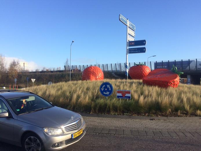 De bekende aardbeirotonde van Jan en Brigitte van den Elzen bij de A50.