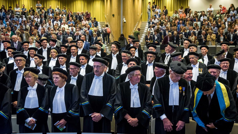 De opening van het academisch jaar in 2018. Dit jaar leiden aanhoudende bezuinigingen op het hoger onderwijs tot veel protest.  Beeld ANP
