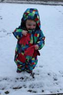 Linsey uit Nijmegen geniet van de sneeuw.