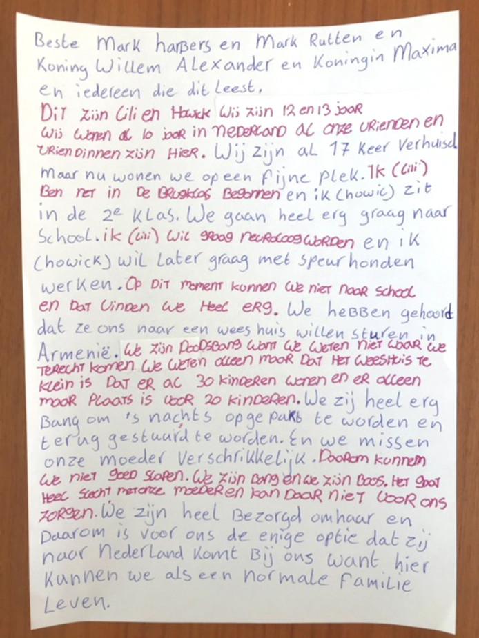 De brief van de asielkinderen Lili en Howick.