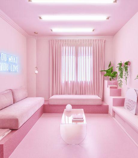 Un appartement entièrement rose en plein centre de Madrid