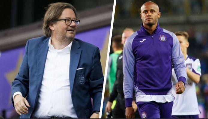 Links: Coucke gisteren in de tribunes tijdens de 0-0 tegen W.Beveren, rechts Kompany na de bekerzege in Beerschot.