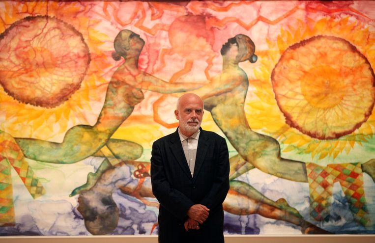"""Francesco Clemente op zijn expositie-opening van """"Palimpset"""