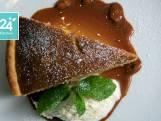 Pindataartjes, karamelsaus en vanille-ricottacrème