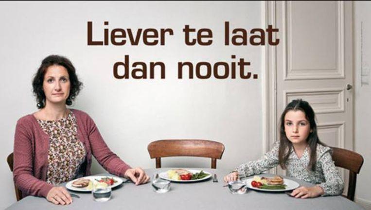 Voorbeeld uit de harde campagne in België die wordt gestopt. Beeld