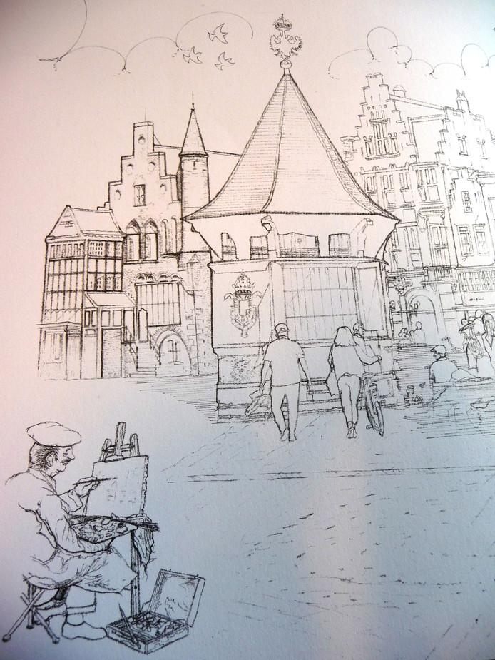 Kleurplaten Voor Volwassenen Stad.Kleur Den Bosch In Markt En Sint Jan In Kleurboek Voor Volwassenen