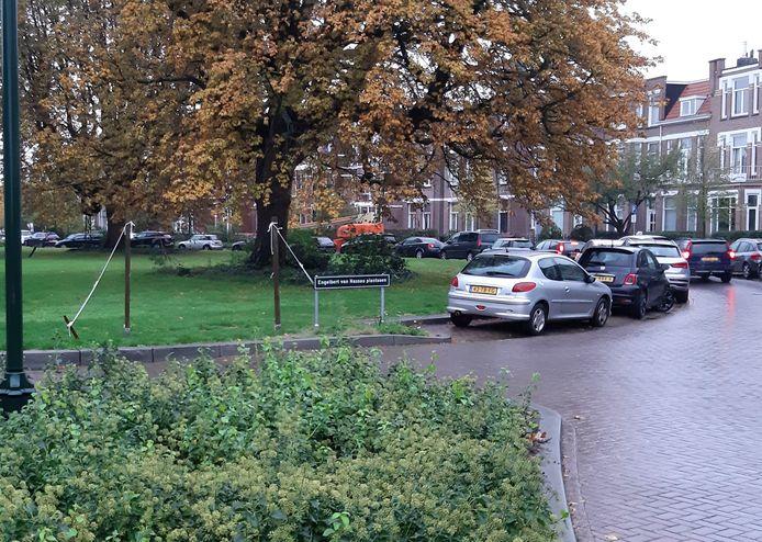 De protestbanner tegen betaald parkeren in Zandberg op de rotonde in de Baronielaan is verdwenen.