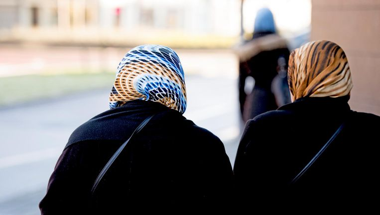 Moslima's in het Rotterdamse straatbeeld. Beeld anp