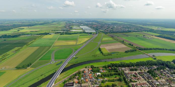 De nieuwe verkeerssituatie in de Baardwijkse Overlaat tussen Waalwijk en Drunen, als de GOL-plannen worden uitgevoerd.