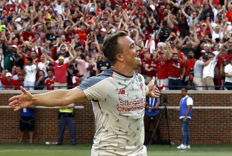 Xherdan Shaqiri na zijn pareltje tegen Liverpool.