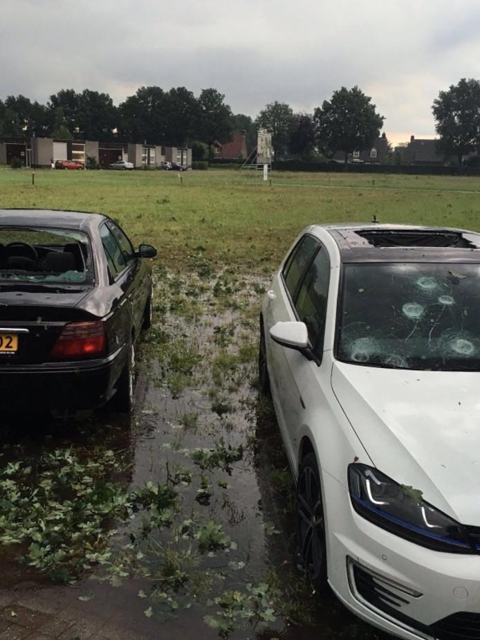 Hagelschade in Helmond.