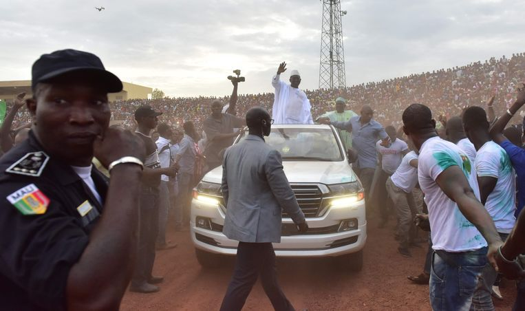 Oppositieleider Soumaïli Cissé, hier op campagne bij de vorige presidentsverkiezingen in 2018 in Mali . Voor de derde keer  verloor hij en eindigde hij als tweede bij presidentsverkiezingen. Hij is na zijn ontvoering door jihadisten afgelopen voorjaar vrijgelaten.  Beeld AFP