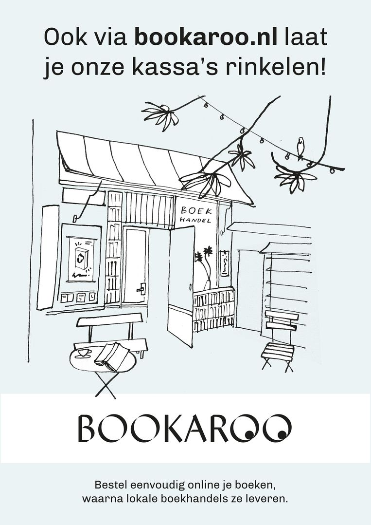 Deze poster hangt bij boekwinkels die aan Bookaroo meedoen. Beeld Bookaroo