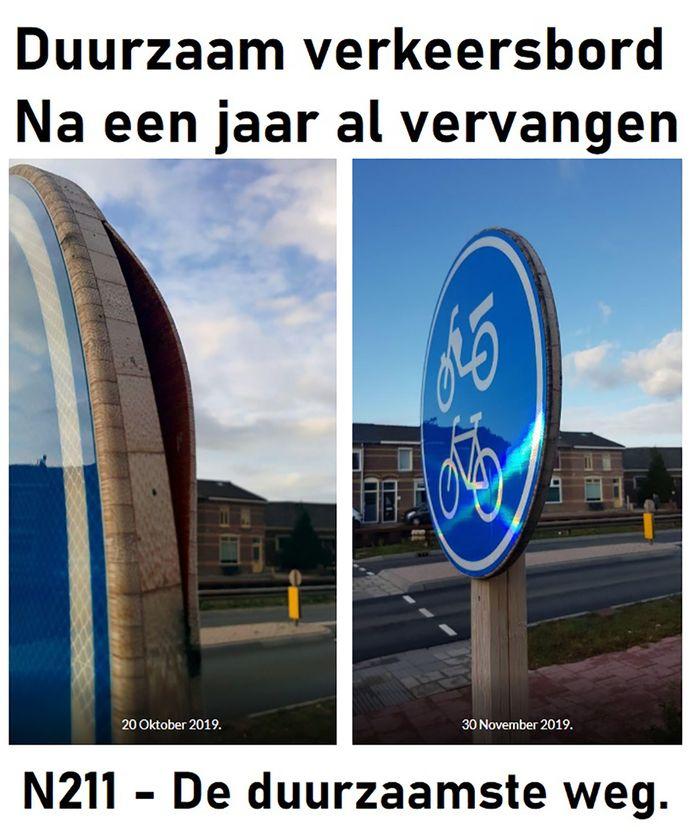 Rechts het bord zoals het eerst was, links is zichtbaar wat de invloed van vocht in een jaar heeft gedaan.