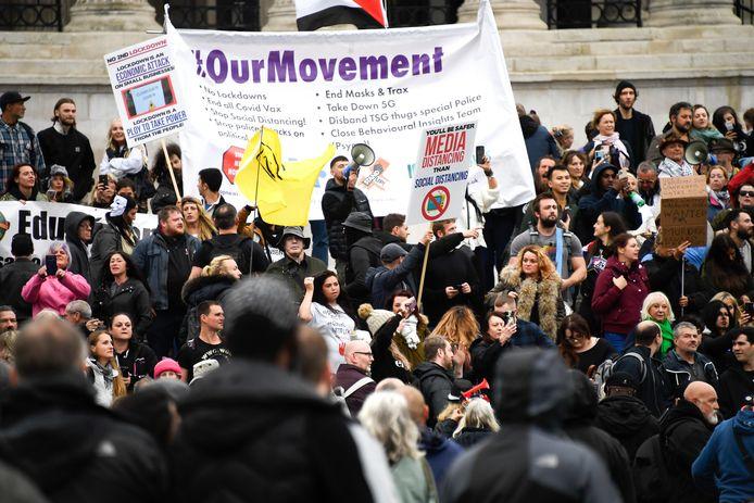 Anti-lockdowndemonstranten protesteerden afgelopen zaterdag in Londen.