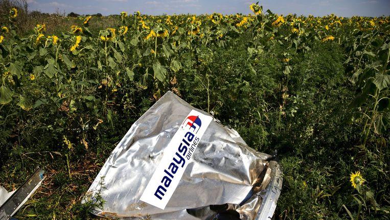 Een deel van een container ligt in een veld met zonnebloemen in het rampgebied van de MH17. Beeld anp