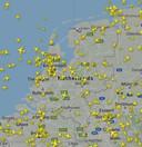 Vliegverkeer boven Nederland op 23 juli 11.00 uur.