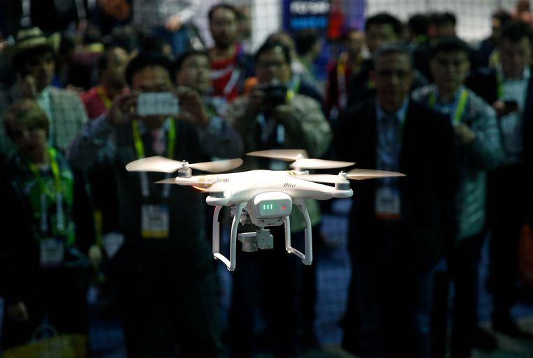 Een drone in actie op een IT-beurs in Las Vegas.