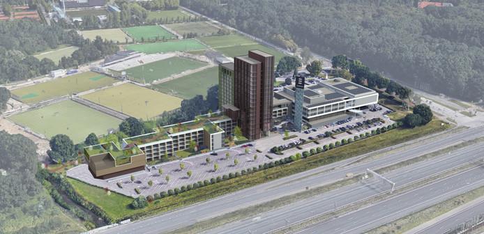 Het nieuwbouwplan voor het Van der Valk Hotel Eindhoven.
