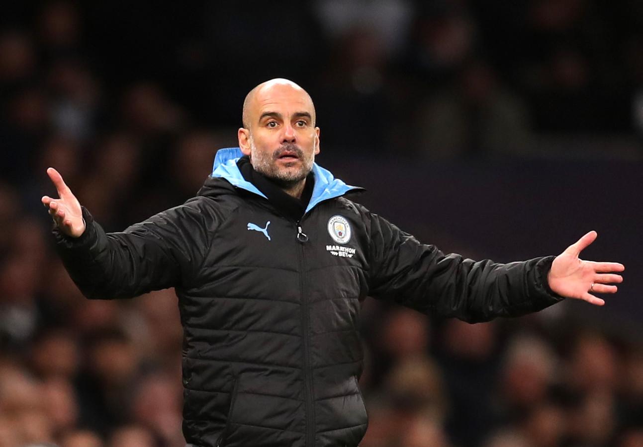 Pep Guardiola, de manager van Manchester City. De Catalaanse succescoach staat nog tot medio 2021 onder contract bij City.
