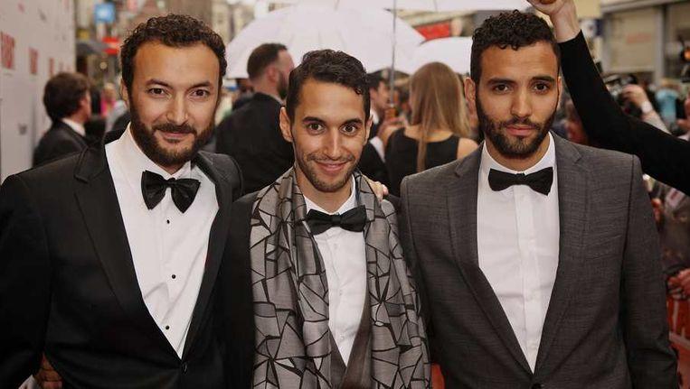 Nasrdin Dchar, Achmed Akkabi en Marwan Kenzari (VLNR) op de galapremiere van Rabat. © ANP Beeld