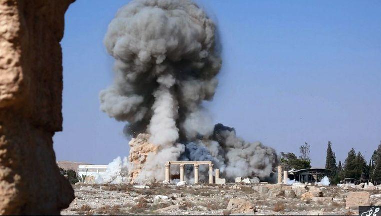 IS blies vorig jaar een aantal belangrijke tombes en tempels op in Palmyra. Beeld ap