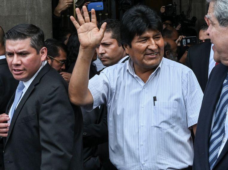 Evo Morales woensdag in Mexico-Stad. Beeld AFP