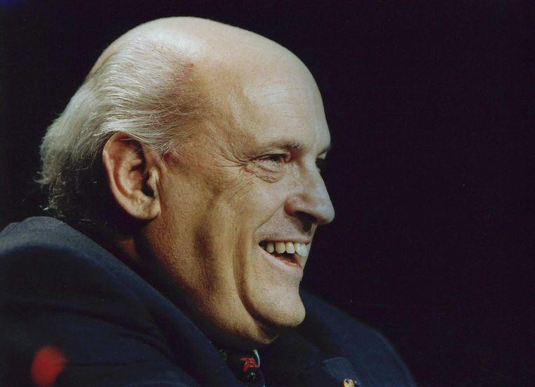 Een lachende Jan Timmer, president-directeur van Philips, tijdens een toelichting op de jaarcijfers in Eindhoven in 1995. Beeld anp