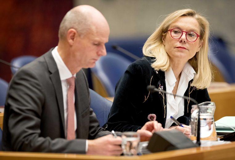 De ministers Blok en Kaag woensdag tijdens het Ceta-debat. Beeld ANP - Koen van Weel