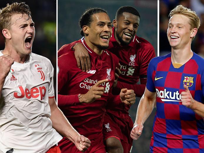 Matthijs de Ligt (Juve), Virgil van Dijk en Georginio Wijnaldum (Liverpool) en Frenkie de Jong (Barça).