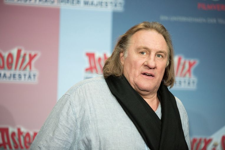 Gerard Depardieu tijdens de perspresentatie van 'Asterix and Obelix - On Her Majesty's Service' in Berlijn in 2012. Beeld epa