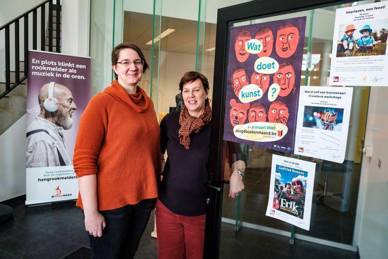 Medewerkers Greet en Els van de de bibliotheek van Ranst.