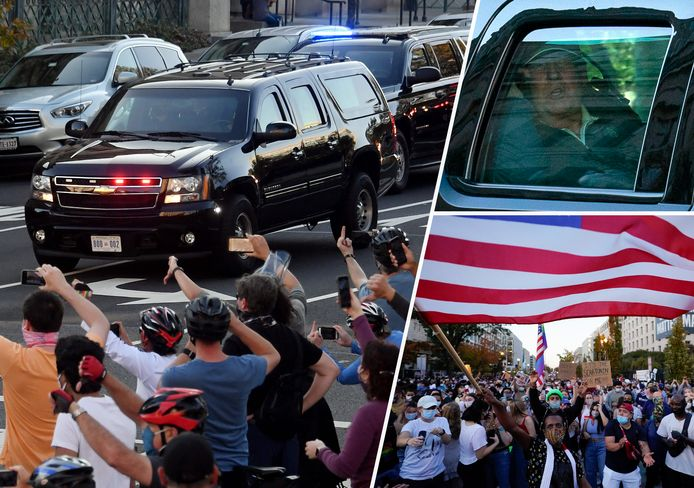 Biden-supporters reageren wanneer Trump in de auto voorbijrijdt op de terugweg naar het Witte Huis. Rechtsonder: feestvierders in Washington.