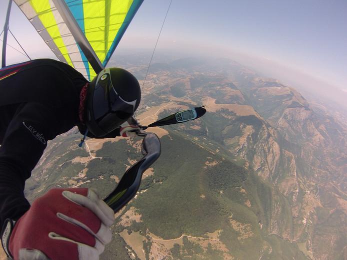 Joost Eertman tijdens het deltavliegen