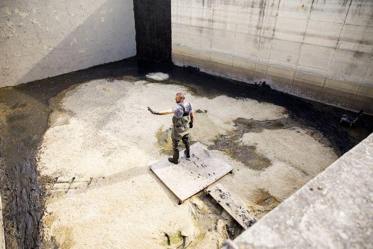 Beeldend kunstenaar Ties Ten Bosch in een leeg bassin. Beeld Aad Hoogendoorn