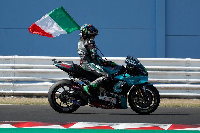 Franco Morbidelli viert zijn zege op het circuit van Misano.