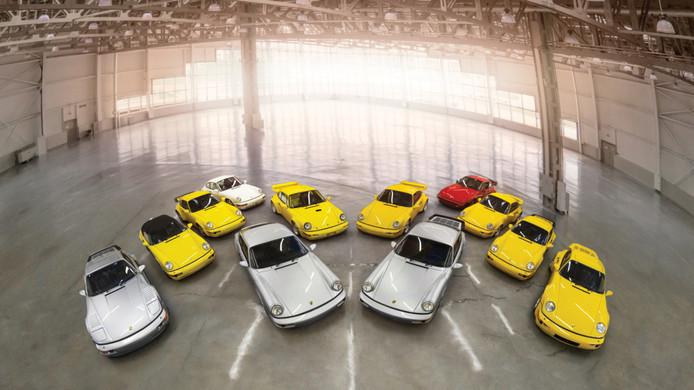 Twaalf Porsches uit dezelfde modelserie moeten rond de zeven miljoen dollar opbrengen op een veiling