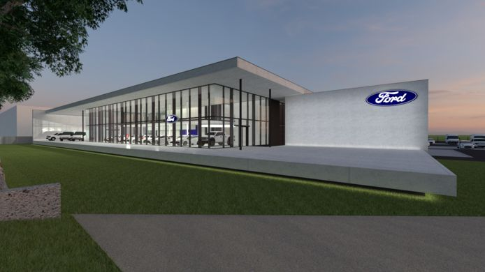 De familie Vansteenland investeert in een nieuwe Ford-garage op de Monnikenhoek.
