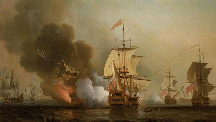 Dit schilderij van Samuel Scott toont de zeeslag in 1708 waarbij de San José door de Britten tot zinken werd gebracht voor de kust van Colombia.