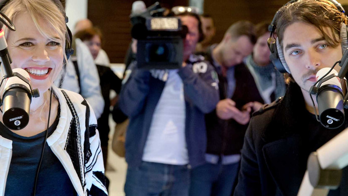 Waylon en Ilse DeLange tijdens het radioprogramma Gouden Uren van Radio 2 in het Deense Kopenhagen.