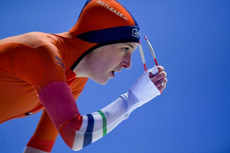 Ireen Wüst na de 1500 meter op het WK Schaatsen in Erfurt, vorig jaar  Beeld EPA