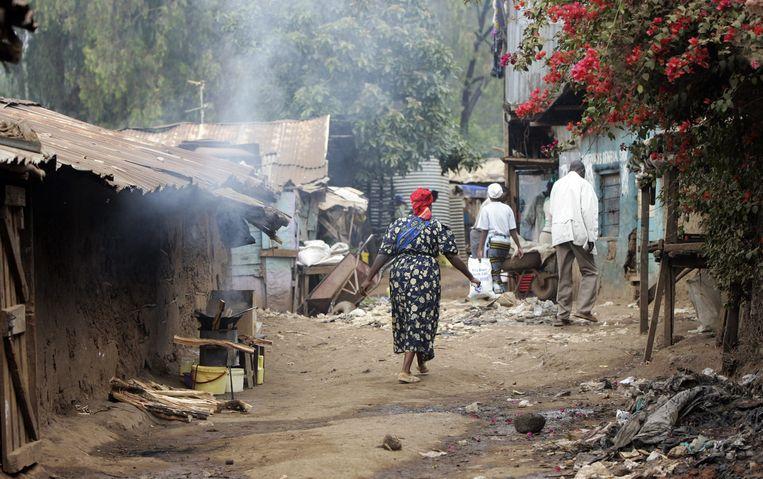 Vrouw in een sloppenwijk in Nairobi Beeld ANP