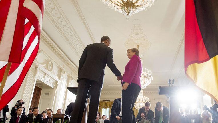 Obama en Merkel in het Witte Huis. Beeld epa