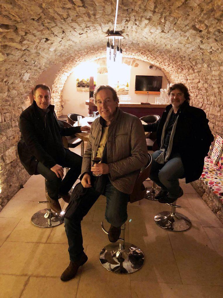 Filip, Johan en Luc spelen een gelegenheidsconcert voor Rudy Reunes in Merelbeke.